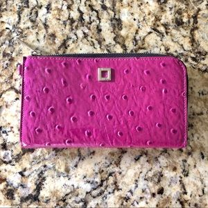 Lodis Ostrich Patent Leather Fuchsia Wallet